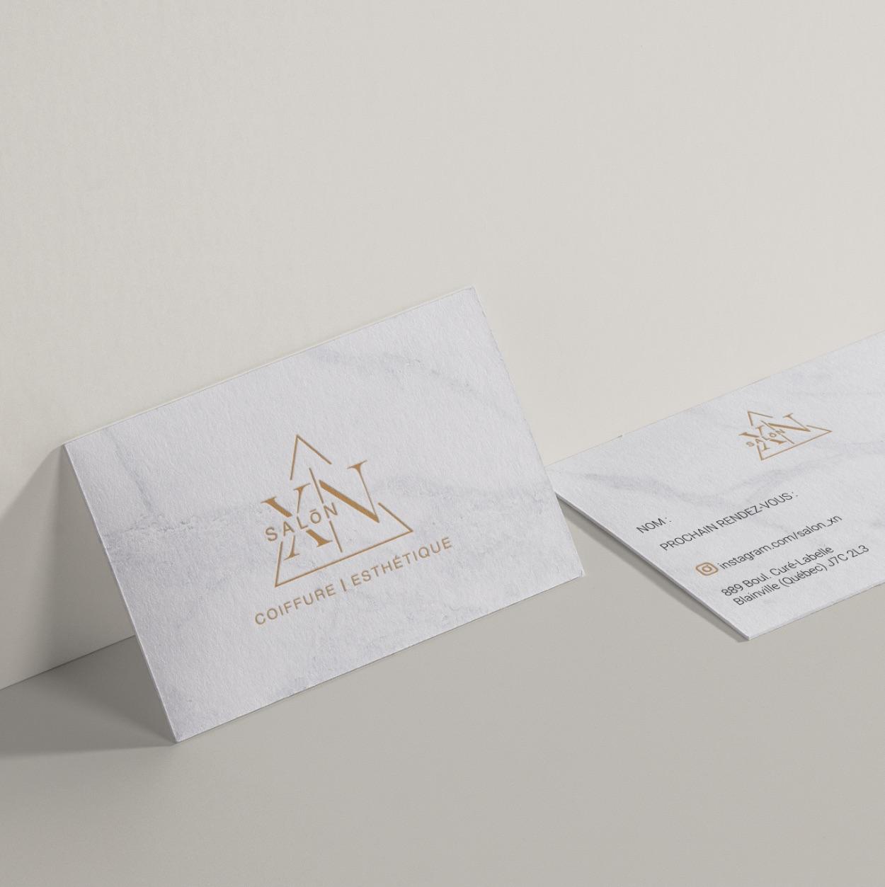 Cartes d'affaires | Effet marbre | Embossage doré | Salon XN