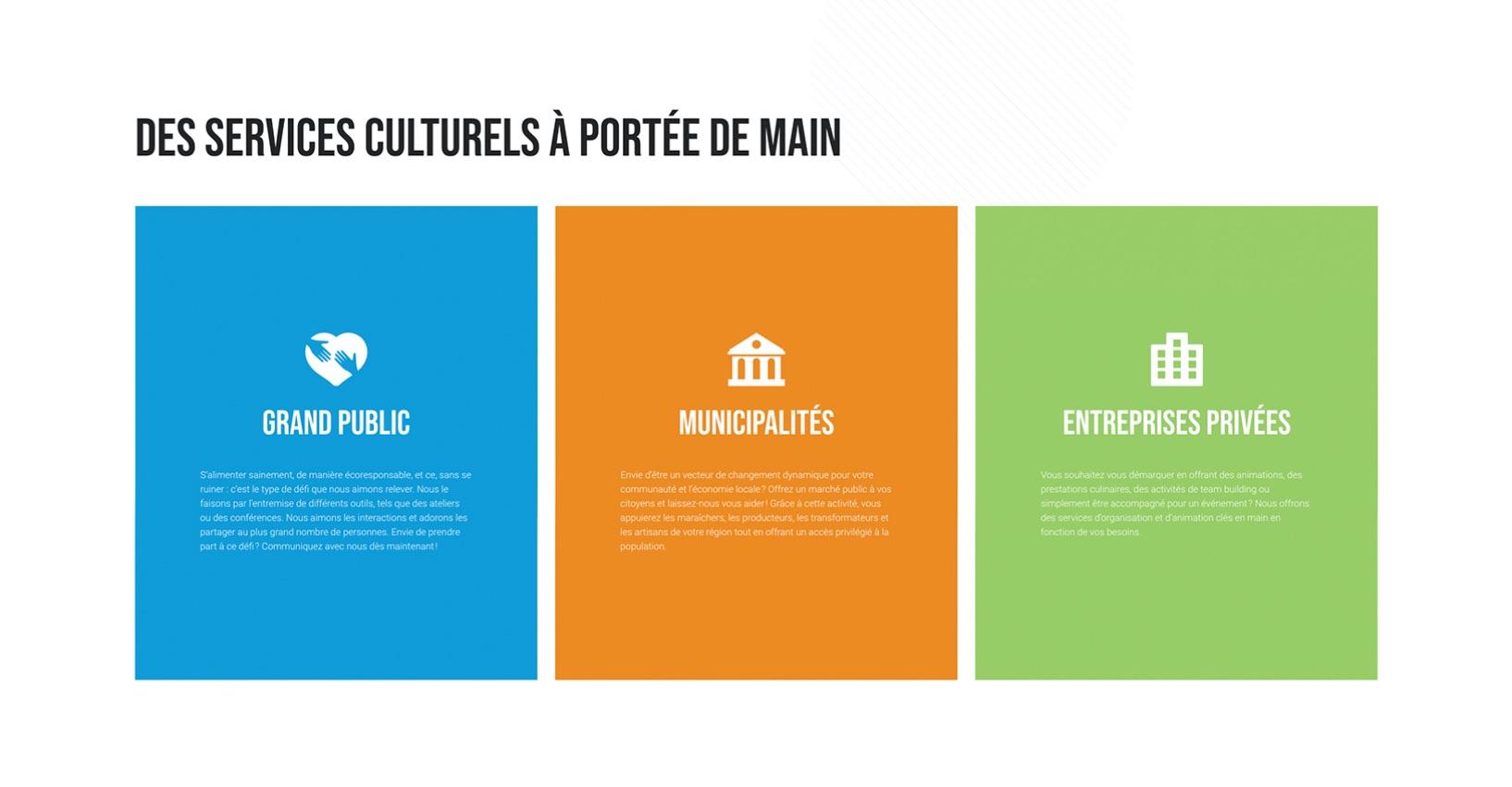 Design coloré | Stratégie Web | Blocs texte informatifs