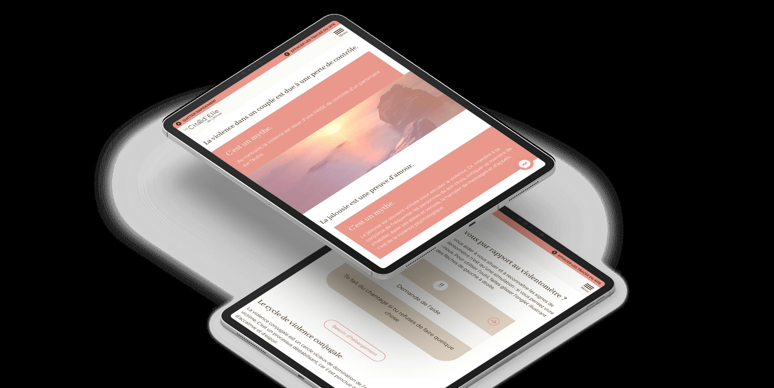 Site sur tablette   Navigation optimisée   Design responsive