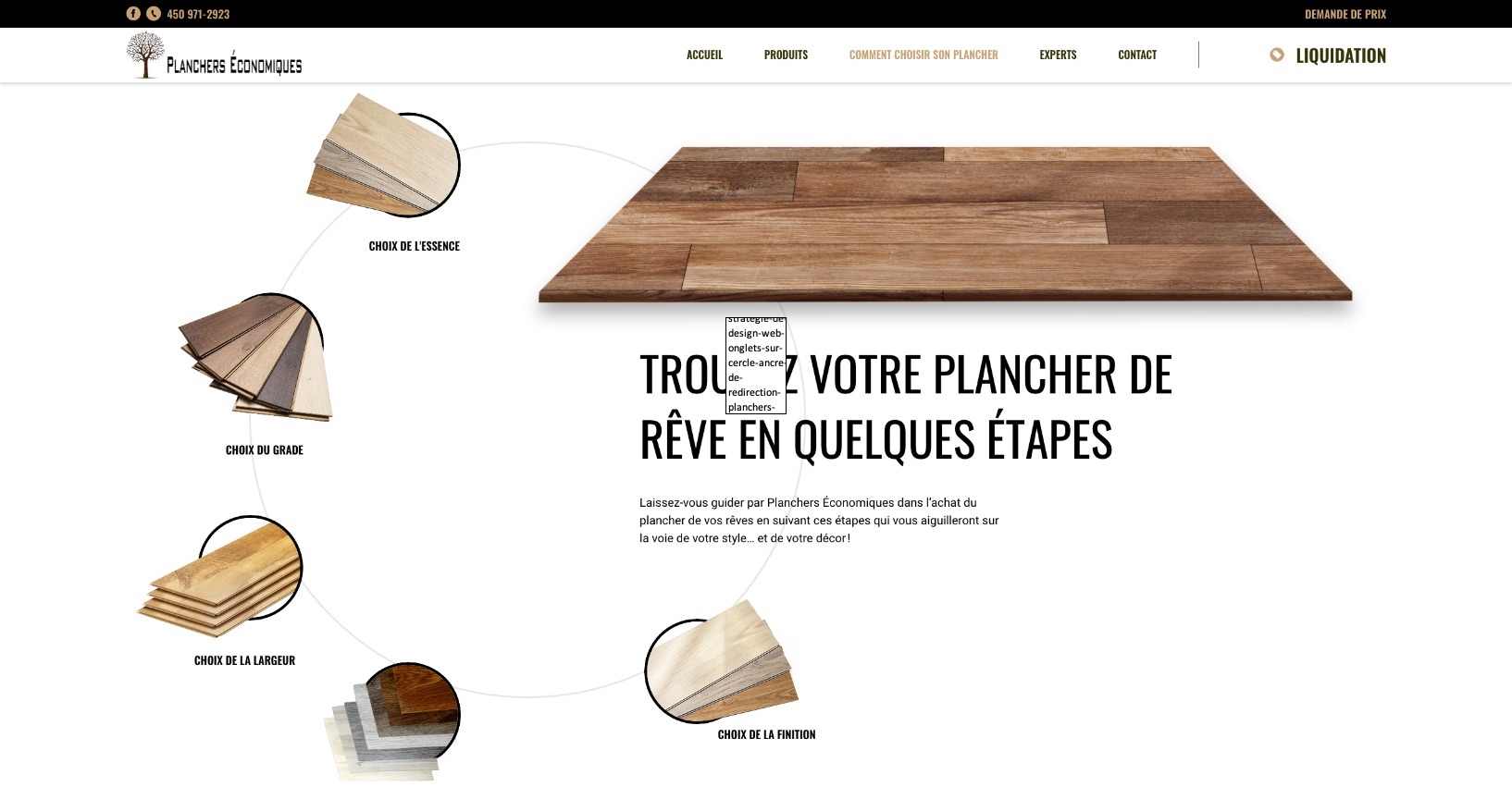 Onglets sur cercle | Ancre de redirection | Design Web optimisé