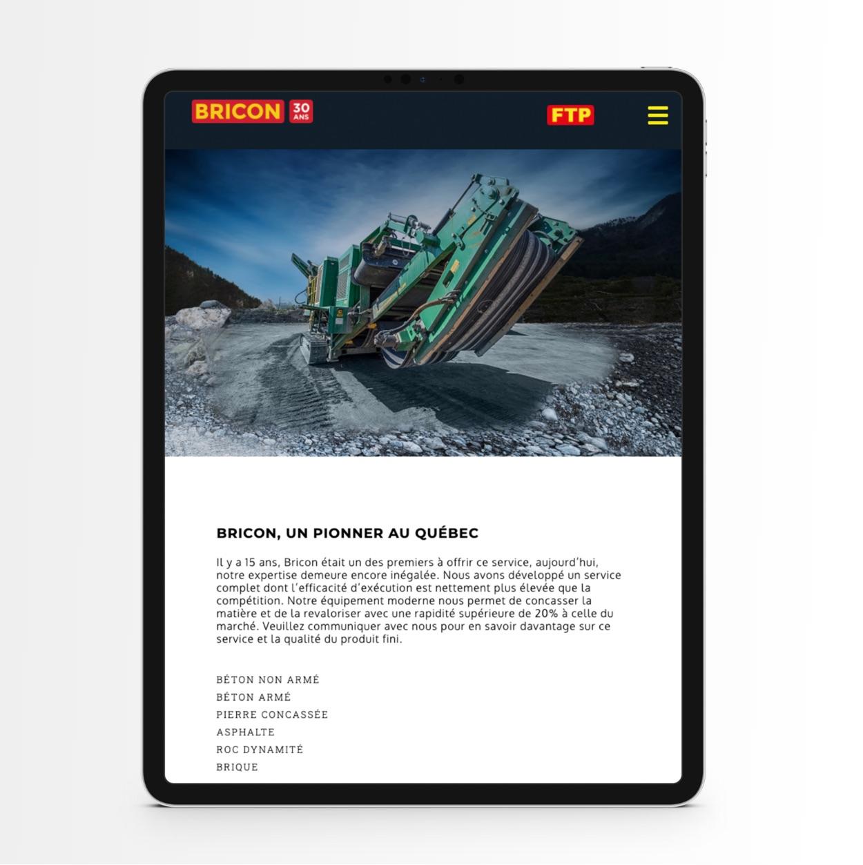 Stratégie responsive | Affichage optimisé sur tablette | Bricon